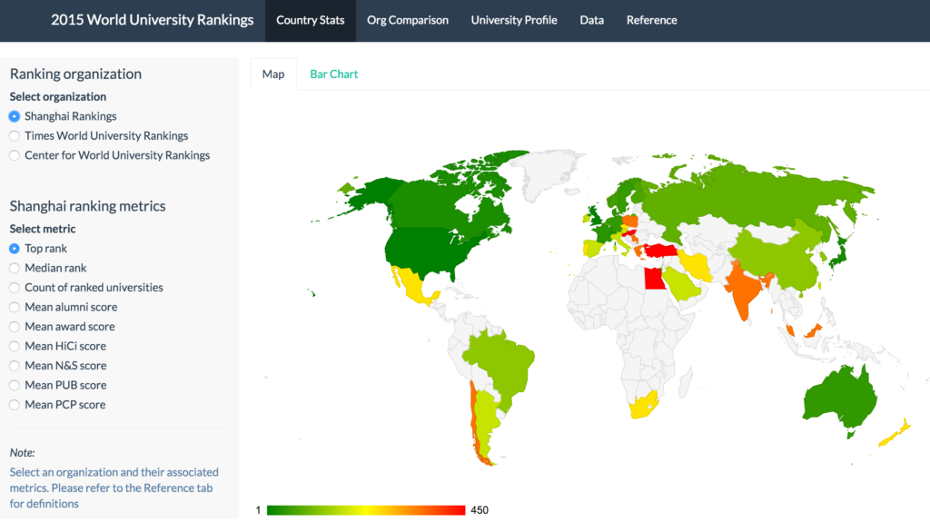 2015 World University Rankings - Country Stats Map