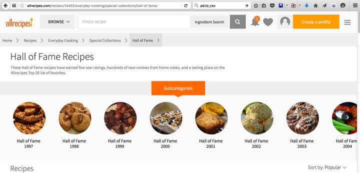 All the recipes: Scraping the top 20 recipes of allrecipes
