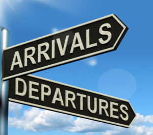 Arrivals Departures Signpost Shows Flights Airport And International Travel
