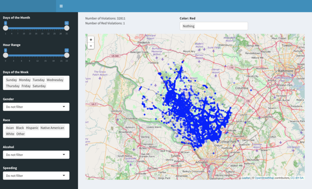 The app features an interactive map zoomed in on Montgomery County, MD, with all traffic violations plotted as blue dots. The sidebar features filtering criteria to allow the viewer to sort and visualize the data by his/her own interest.
