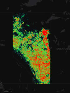 Heatmap of abandoned wells in Alberta generated from shapefile.