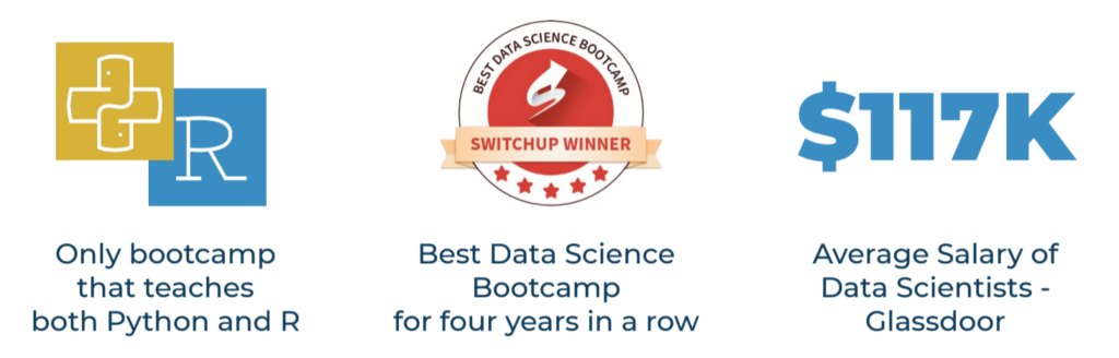 NYCDSA has been voted the best data science bootcamp by Switchup 4 years in a row; NYCDSA's 12 Week Bootcamp teaches both Python and R Languages; The average salary of Data Scientists according to Glassdoor is 117K